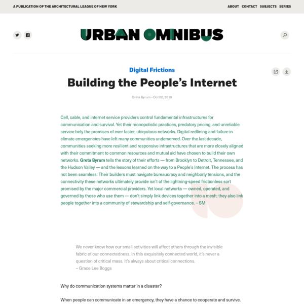 Building the People's Internet | Urban Omnibus