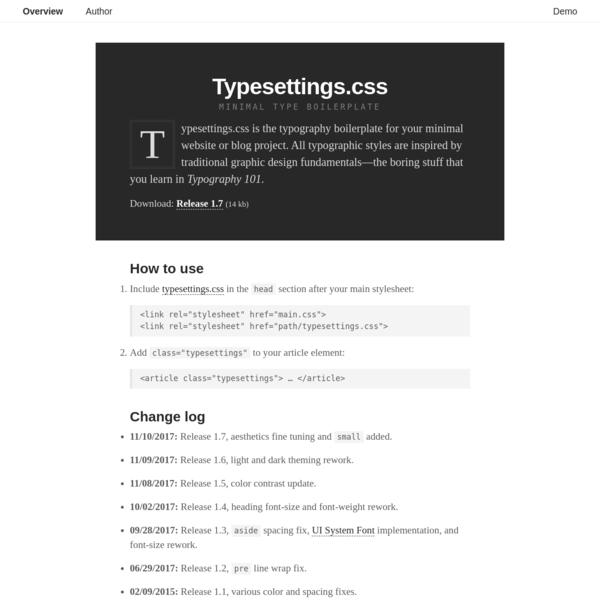 Typesettings.css | Minimal Type Boilerplate