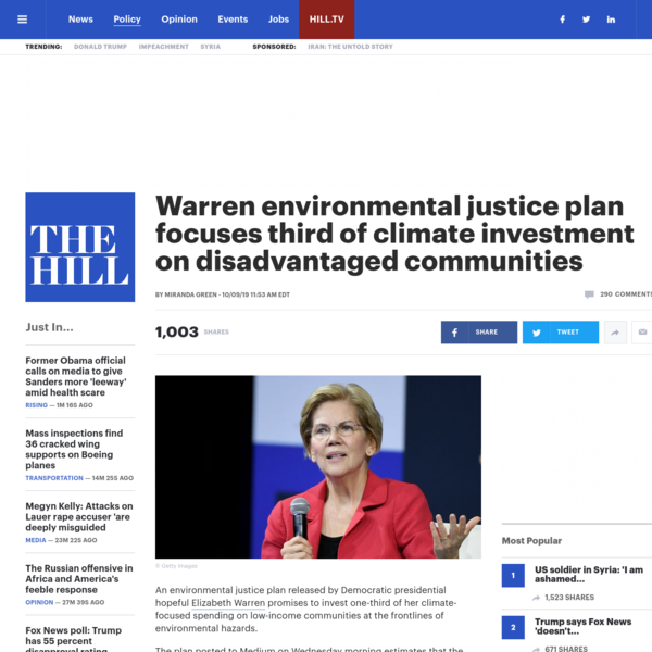 Warren environmental justice plan focuses third of climate investment on disadvantaged communities