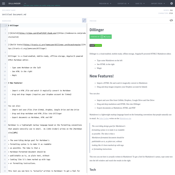 Online Markdown Editor - Dillinger, the Last Markdown Editor ever.