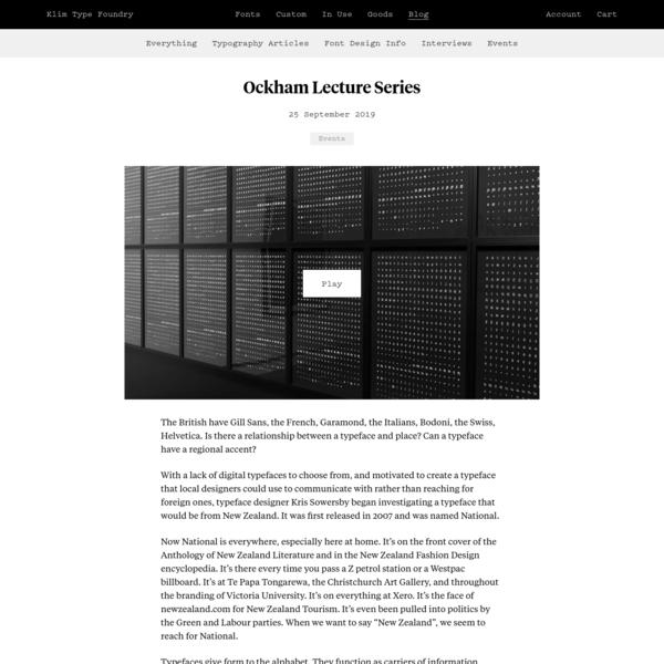 Klim Type Foundry · Ockham Lecture Series