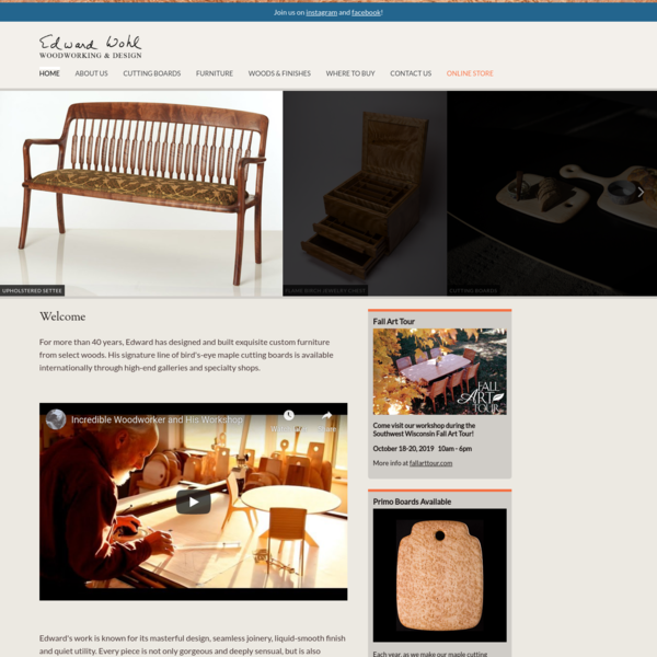 """Welcome """" Edward Wohl Woodworking & Design"""