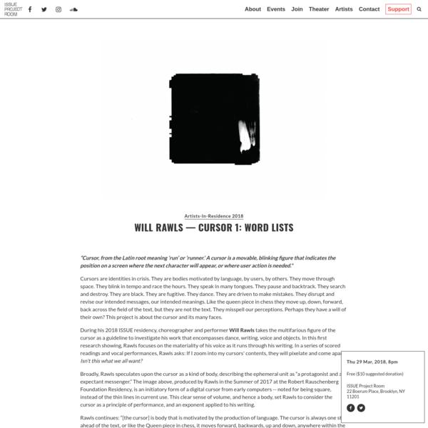 Will Rawls - Cursor 1: Word Lists