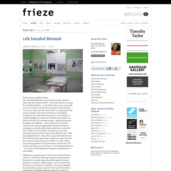 Frieze Magazine   Archive   Archive   11th Istanbul Biennial