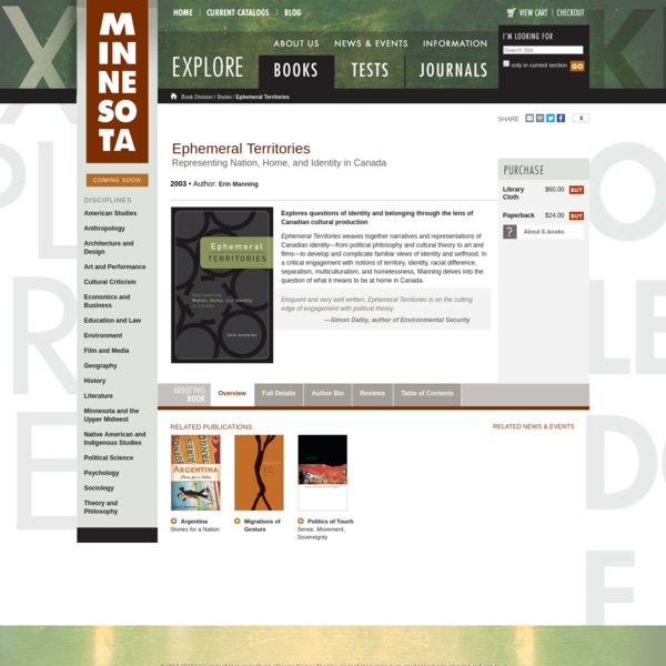 Ephemeral Territories — University of Minnesota Press