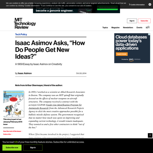 """Isaac Asimov Asks, """"How Do People Get New Ideas?"""" - MIT Technology Review"""