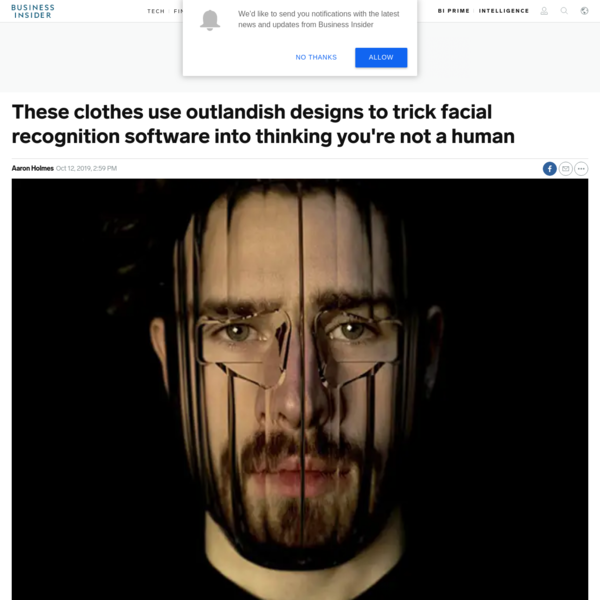 These clothes use outlandish designs to trick facial recognition software into thinking you're not a human