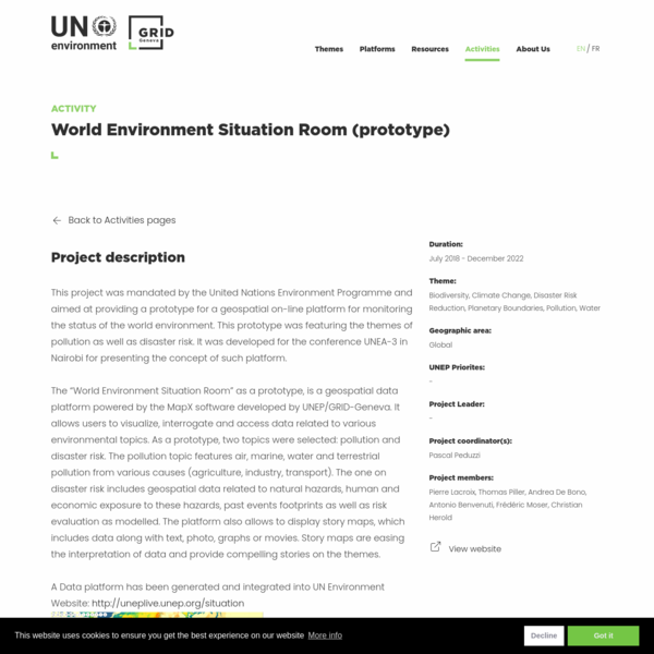 World Environment Situation Room (prototype)