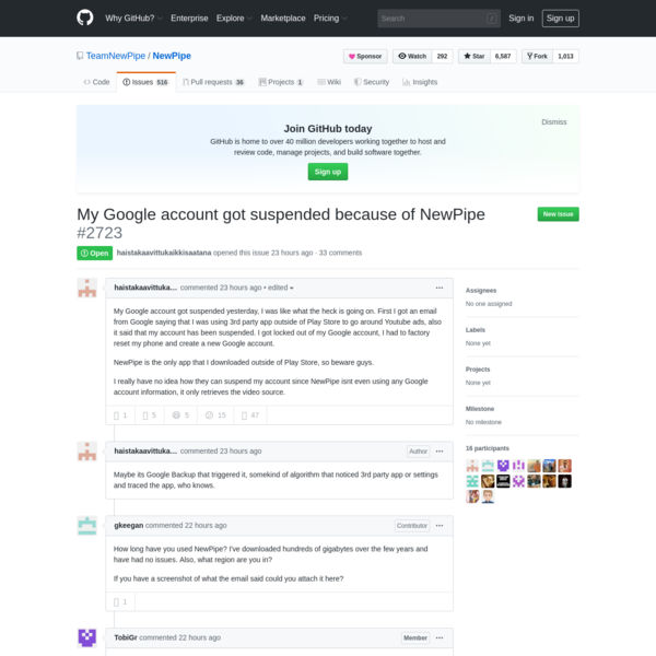 My Google account got suspended because of NewPipe · Issue #2723 · TeamNewPipe/NewPipe