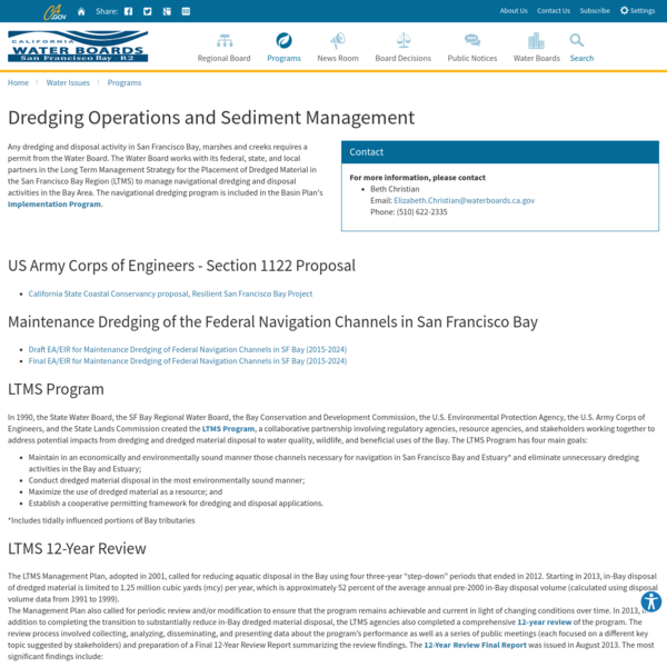 Dredging Operations and Sediment Management