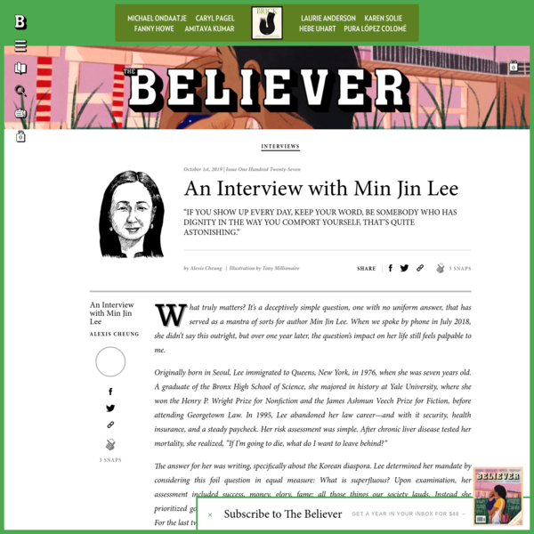 An Interview with Min Jin Lee - Believer Magazine