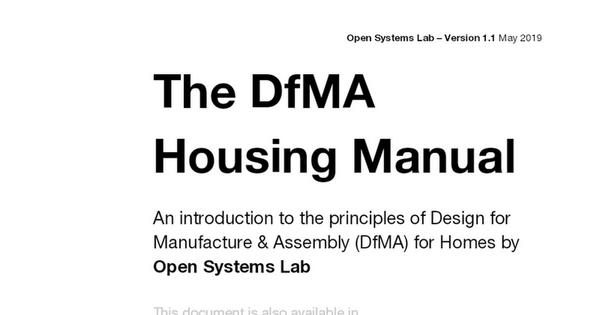 The DfMA Housing Manual