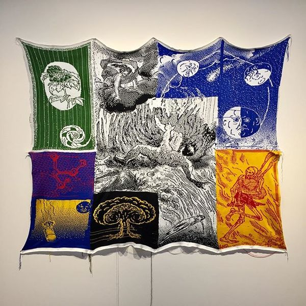 'What I Think About When I Think About The Anthropocalypse' Knitted tapestry depicting an apocalyptic narrative through re-a...