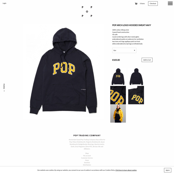 Pop Arch Logo Hooded Sweat Navy