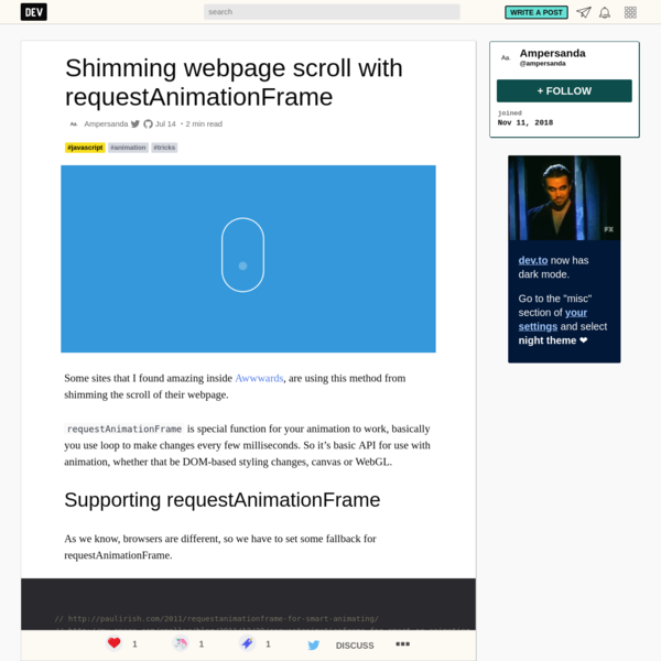 Shimming webpage scroll with requestAnimationFrame