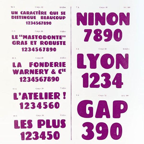 Le Mastodonte Initiales, Fonderie Warnery & Cie, approx.1934 #typespecimen