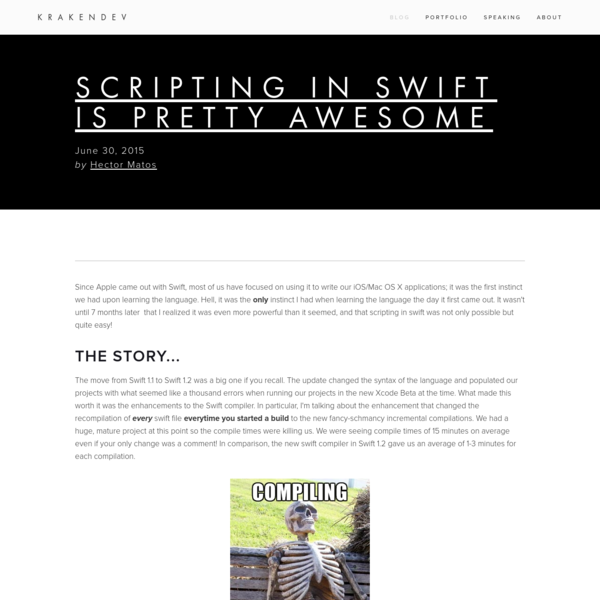Scripting in Swift is Pretty Awesome - KrakenDev