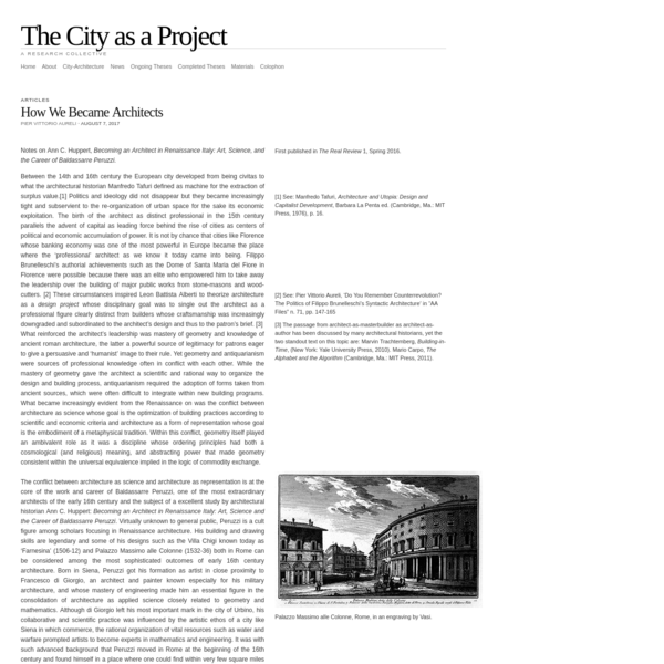 The City as a Project | How We Became Architects