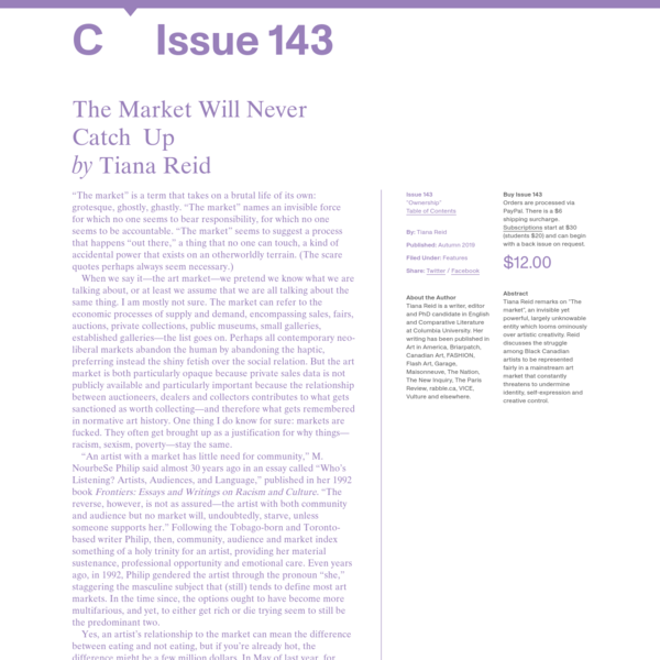C Magazine / The Market Will Never Catch Up