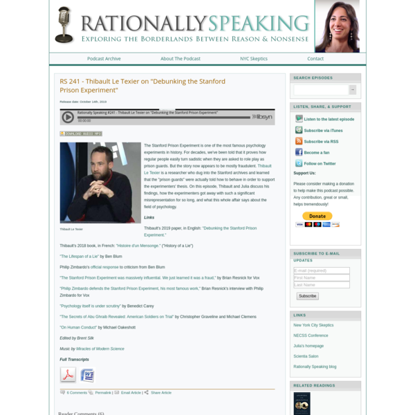 "Rationally Speaking | Official Podcast of New York City Skeptics - Current Episodes - RS 241 - Thibault Le Texier on ""Debunk..."