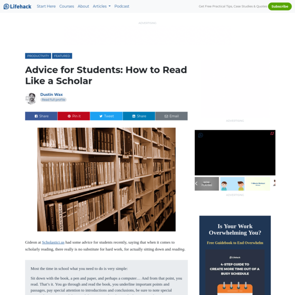 Advice for Students: How to Read Like a Scholar