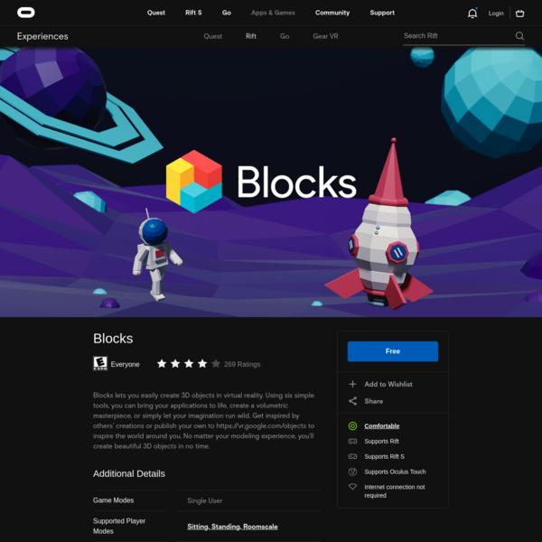 Blocks on Oculus Rift