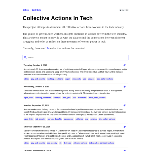 Collective Actions in Tech