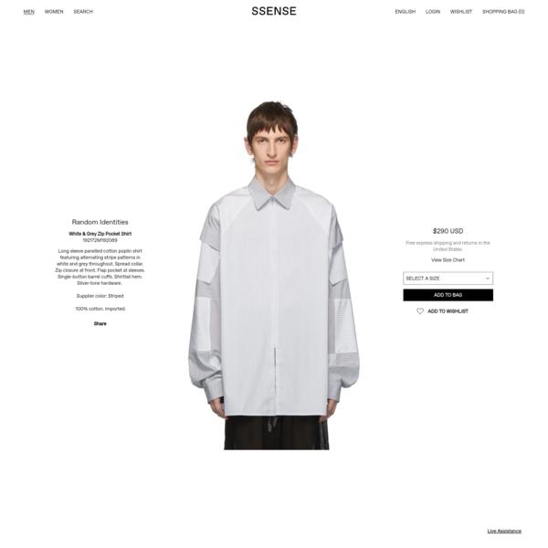 Random Identities - White & Grey Zip Pocket Shirt