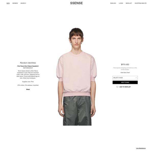 Random Identities - Pink Fleece Short Sleeve Sweatshirt