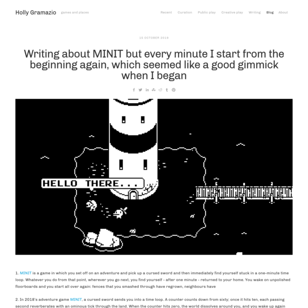 Writing about MINIT but every minute I start from the beginning again, which seemed like a good gimmick when I began - Holly...