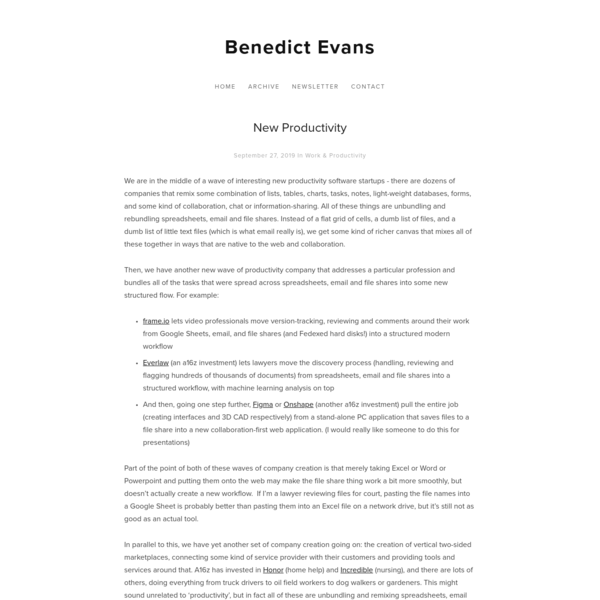 New Productivity - Benedict Evans