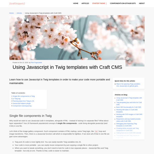 Using Javascript in Twig templates with Craft CMS