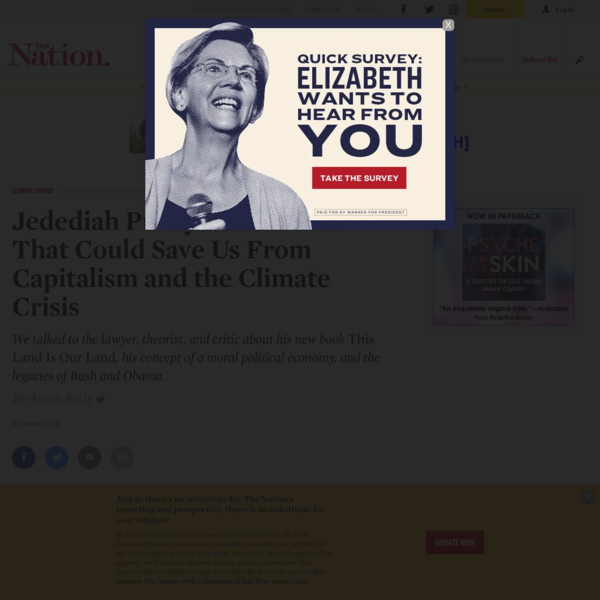Jedediah Purdy Has an Idea That Could Save Us From Capitalism and the Climate Crisis   The Nation