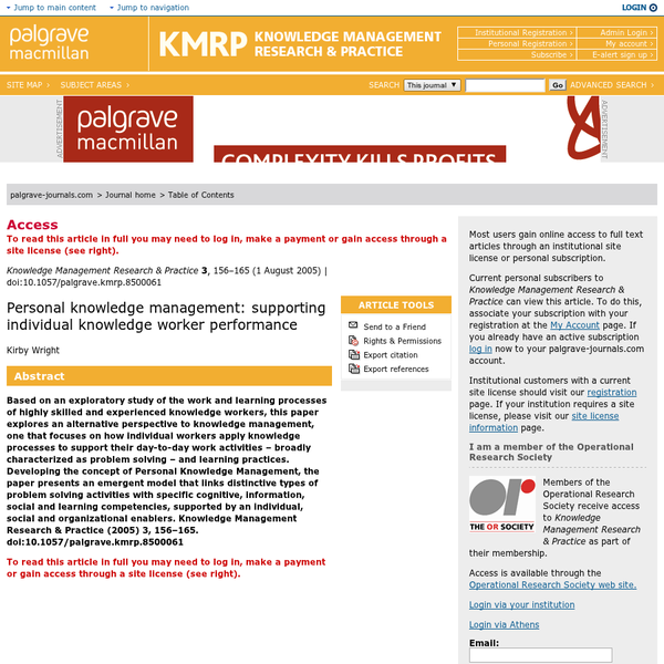 Knowledge Management Research &Practice (KMRP) provides an outlet for high quality, peer reviewed articles on all aspects of managing knowledge, organisational learning, intellectual capital and knowledge economics. This includes not just those focused on the organisational level, but all levels from that of the individual to that of the nation or profession.