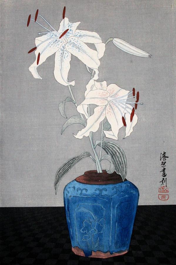 Yoshijuro Urushibara, White Lilies, 1925