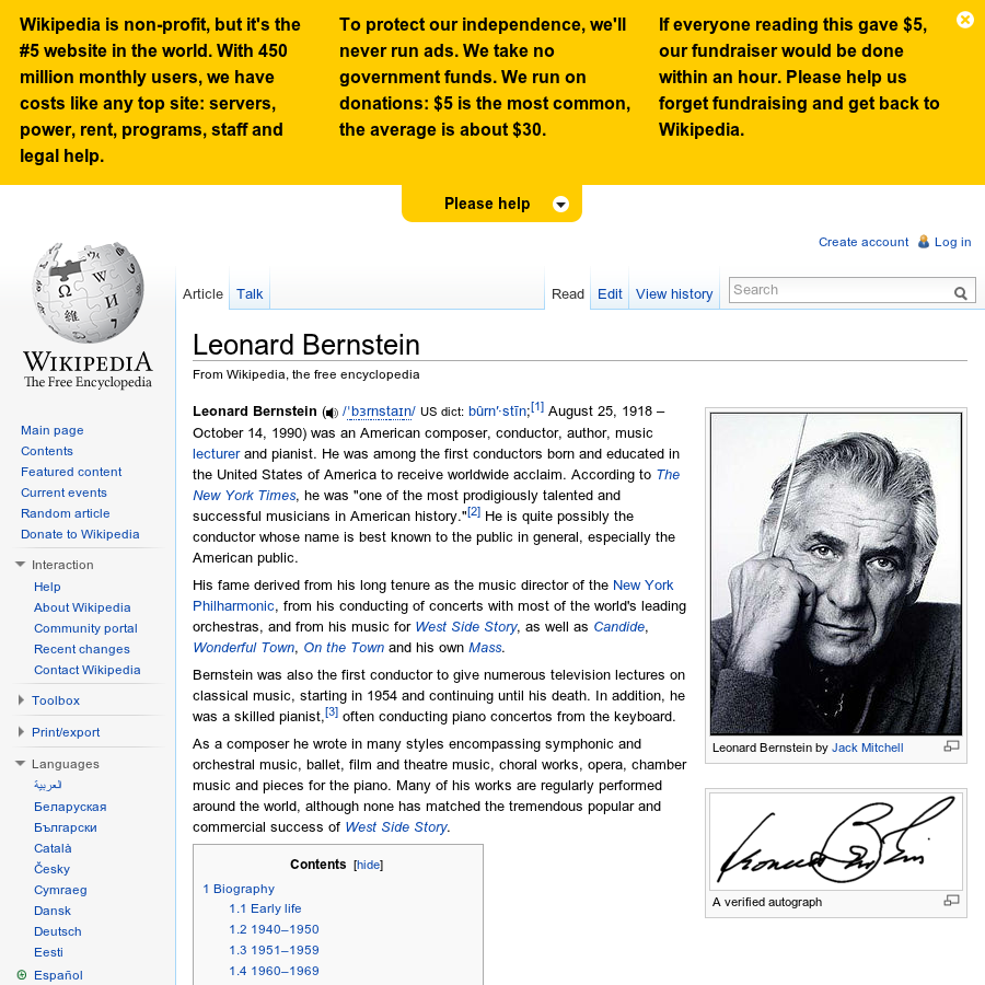 a biography of leonard bernstein a composer Legacy he was highly regarded as a conductor, composer, pianist, and educatorhe is probably best known to the public as long-time music director of the new york philharmonic orchestra, for conducting concerts by many of the world's leading orchestras, and for writing the music for the musical west side story.