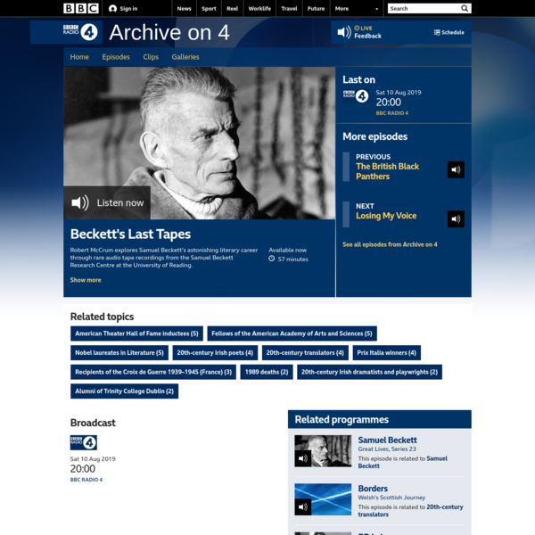 BBC Radio 4 - Archive on 4, Beckett's Last Tapes