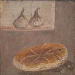 Fresco showing a piece of bread and two figs, from Pompeii, Naples National Archaeological Museum