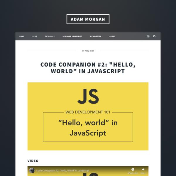 Adam Morgan - Learn web development