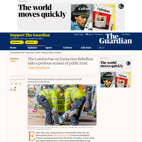 The London ban on Extinction Rebellion risks a perilous erosion of public trust | Tim Newburn