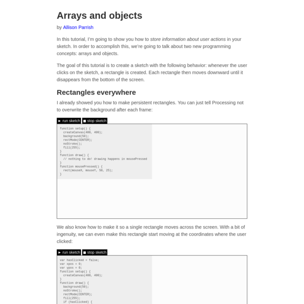 Arrays and objects