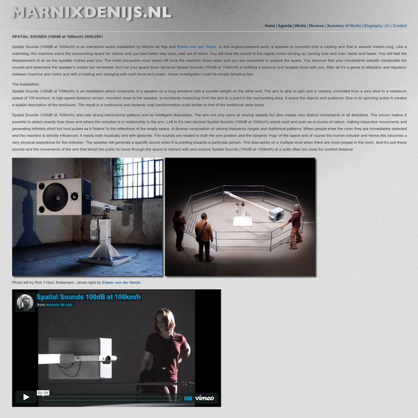 Spatial Sounds (100dB at 100km/h) - work by Marnix de Nijs 2000/2001
