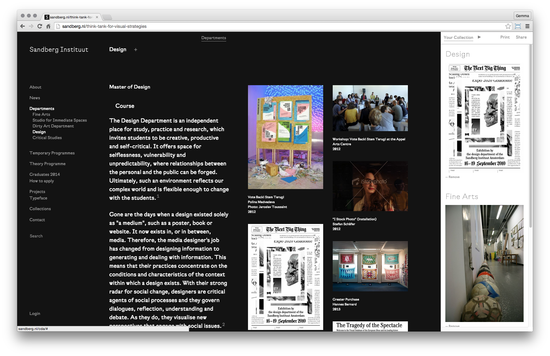 "A screenshot showing the ""Your Collection"" sidebar, where users can collect images and texts from the site"