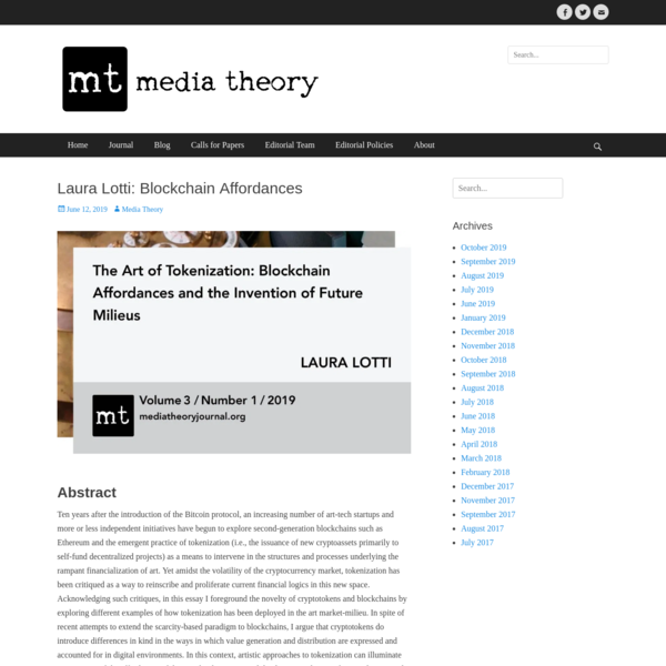 Laura Lotti: Blockchain Affordances