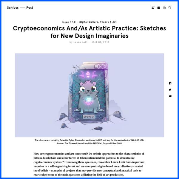 Cryptoeconomics As Artistic Practice