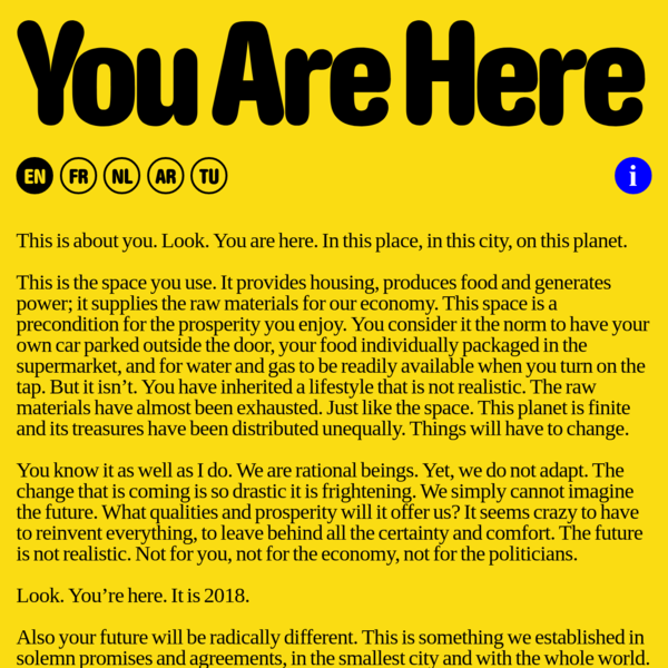 You Are Here. Brussels Biennale for Architecture and Urbanism