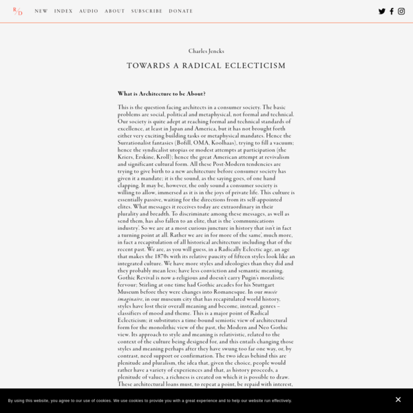 Towards a Radical Eclecticism - R / D
