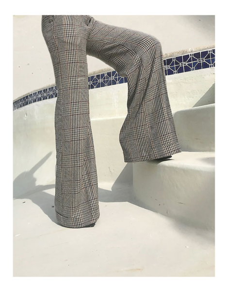 Wide leg pants in glen plaid