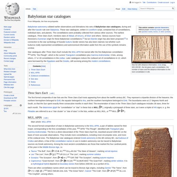 Babylonian star catalogues - Wikipedia