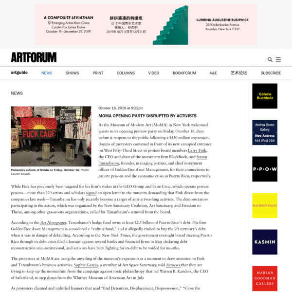 MoMA Opening Party Disrupted by Activists - Artforum International